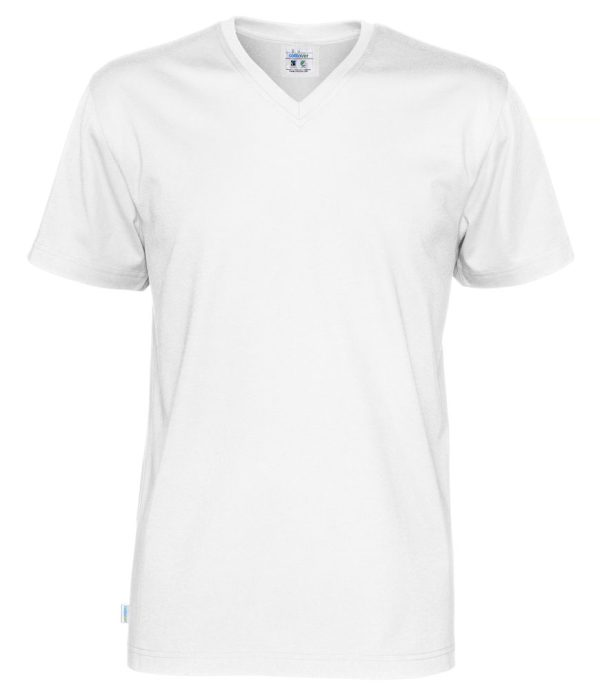 Cottover V-kaula miesten t-paita valkoinen