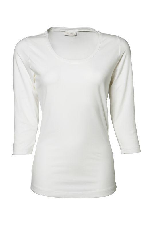TeeJays Stretch Tee 3/4-hihat naisten valkoinen
